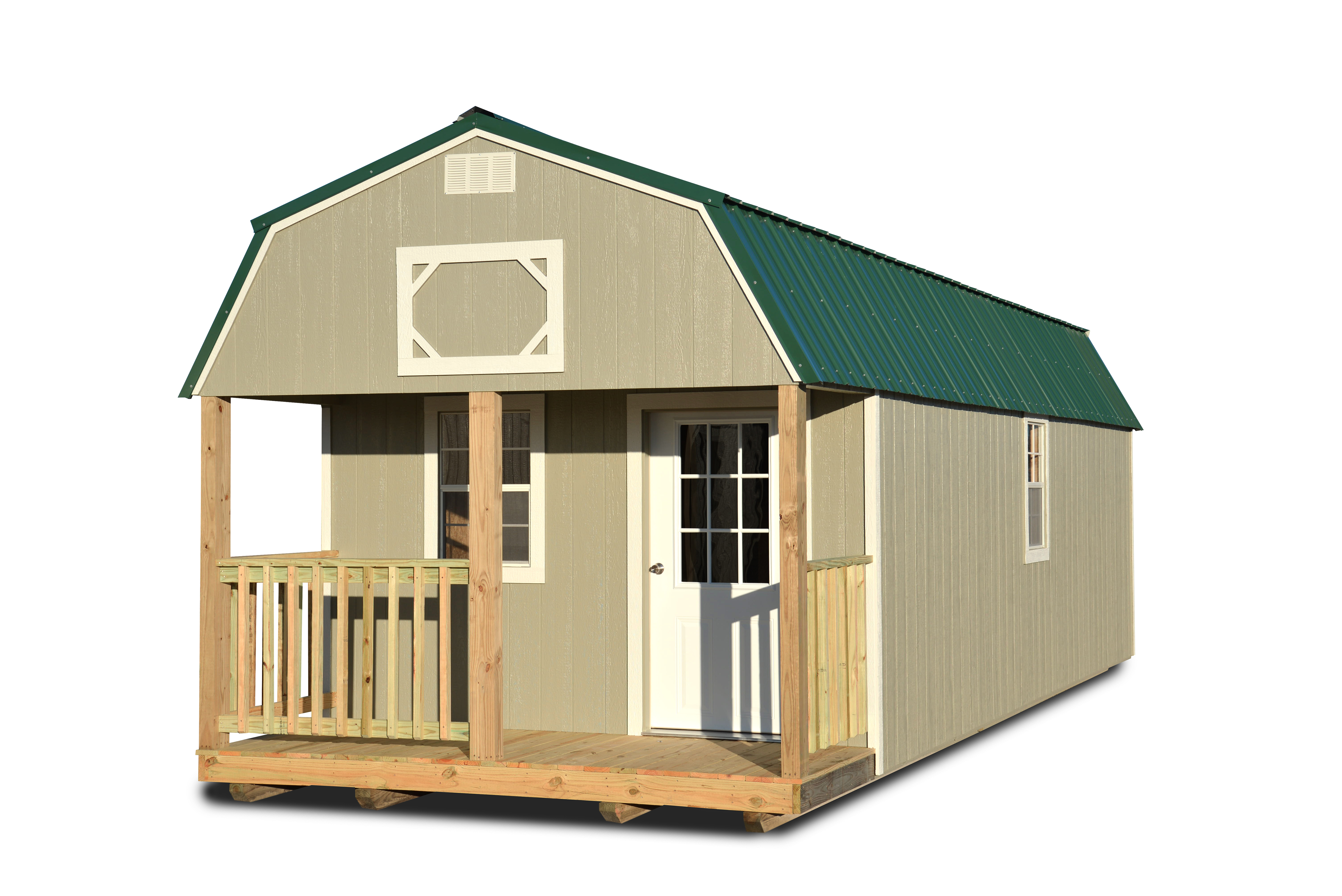 Painted Lofted Barn Cabin Taupe Cotton State Barns